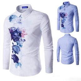 Wholesale Collar Shirts Wholesale - The new men's fashion in the fall and winter of 2016 joker men digital printing gradient youth fashion long-sleeved shirt
