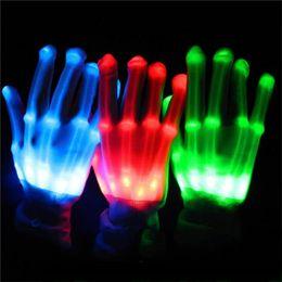 Wholesale Lighted Glove - LED Gloves Halloween LED Cosplay Glove Lighted Toy Halloween Light Props Party Light Gloves 6 Colors Halloween Novelty Lighting Toys 3002053