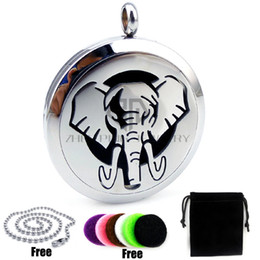 Wholesale Elephant Locket Pendant - New Arrival Elephant Round Silver (30mm) Essential Oils Diffuser Locket Necklace with Chain Aromatherapy Diffuser Locket Necklace