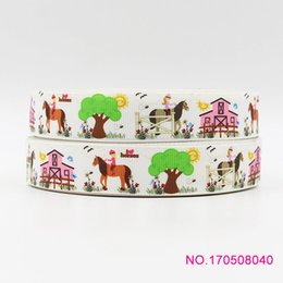 Wholesale Ribbon Tie Headband - ribbon 7 8inch 22mm 170508015 cartoon printed grosgrain ribbon 50yds roll free shipping for headband hair tie