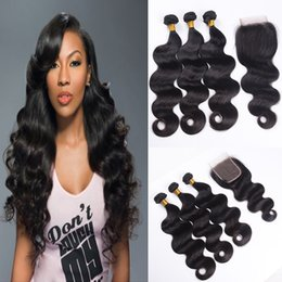 Wholesale Wholesale Weave Hair Pc - 8A Brazilian Hair Weaves and Closures Peruvian Malaysian Indian Body Wave Bundles 3 pcs Hair With 1 Lace Closure Human Hair Extenstions