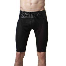 Wholesale Net Sexy Panties - Wholesale-Mens Latex Imitation Leather Net Mesh Panties Pvc Mens Lingerie Unisex Panties sexy men's panty size S-XL