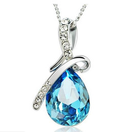 Wholesale Blue Sapphire Heart Pendant - 925 Sterling Silver Pendant Necklace Luxurious Blue Austrian Crystal Angel's Tear Sapphire Jewelry Bohemian Women Wedding Pendant Brand New