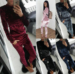 Wholesale Ladies Velvet Suits - Ladies Crushed Velvet Lounge Suit Sweatshirt Pant Women Lounge Wear Tracksuit 2 Piece Set(Top+Drawstring Pants)