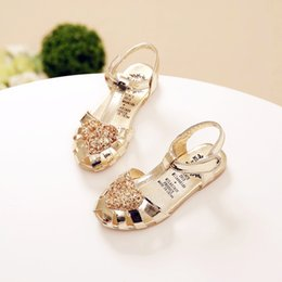 Wholesale Shoes For Teenagers - cute Summer girl sandals shoes noble love heart glitter princess shoes for 3-12yrs girls kids teenager children's party shoes hot