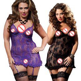 Wholesale Lace Belts Babydoll - Plus SIze Nightwear for Women Purple Female Sexy Erotic Lingerie Lace Babydoll Nightgowns with Garter Belt Ladies Nighties