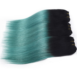 Wholesale Green Bleach - Brazilian Virgin Hair 3 Bundles Ombre human Hair straight 2 Two Tone Ombre 1B green 1B TEAL 1b green 1B teal Hair Extensions