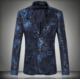 Wholesale Blazer Fashion Style - 2017 new personality retro style printing hot men's big single-breasted suit fashion blazer men dress suits slim fit jacket clothes