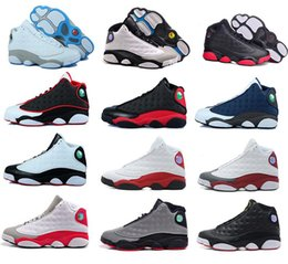 Wholesale Womens Discount Basketball Shoes - New Mens womens Basketball Shoes hot air retro 13 Bred Black True Red Discount Sports Shoe Athletic Running shoes Best price Sneakers