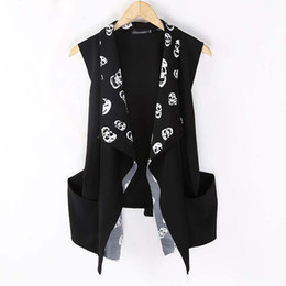 Wholesale Korean Fashion Men S Cardigan - Wholesale- Fashion Korean Men`s Punk Style Vest Black Slim Fit Skull Leopard Printed Cardigan Sleeveless Shirts For Men
