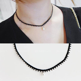 Wholesale Black Pearl Leather Necklace - Fashion Korean Women Black Pearl Pendant Faux Leather Choker Necklace Handmade Black Pearl Gothic Choker Flower Necklace Collar Lolita