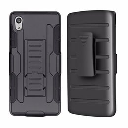Wholesale M4 Clip - For Sony Xperia C4 E4 E4G M4 Aqua Z1 Compact Z1 Mini Z5 C5 Ultra Future Armor Impact Holster Shockproof Hard Case Back Cover With Belt Clip