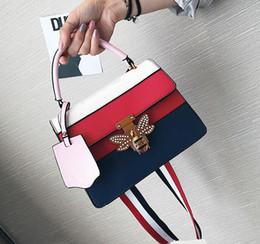 Wholesale Bead Square - 2017 fashion 5 color small square bag tide summer new handbag female diamond bee lock buckle shoulder Messenger bag