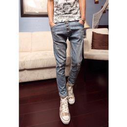Wholesale Tear Drop Buttons - Wholesale- Torn Jeans Buttons Drop Crotch Pants Men Spring New Fashion Trend Harem Trousers Kpop Casual British Style Slim perfume men