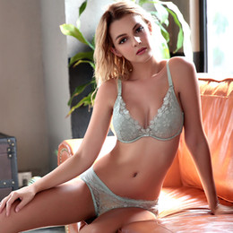 cd620d59f6 Bra set new comfortable thin cotton cup lace elegant sexy charming charm  comfortable breathable TZ34609018 W