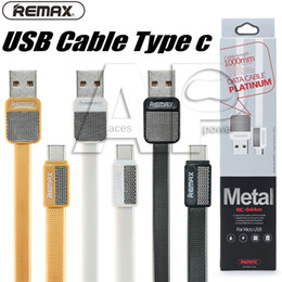 Wholesale micro usb charging port - Fast Charging Flat 1M Remax Metal V8 Micro Android Type-C Usb Sync Data Charging Cable Cord Type C Port