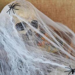 plumas de pavo teñidas Rebajas Scary SPIDER WEB Divertida decoración de plástico elástico para Halloween House Bar Props decoración del partido envío de la gota