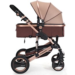 Wholesale Trolley Stroller - Wholesale- Fashion Luxury Baby Stroller 6 Colors Baby Carriage Lightweight Aluminum Baby Trolley For Newborn Infant Four Wheels Passeggino