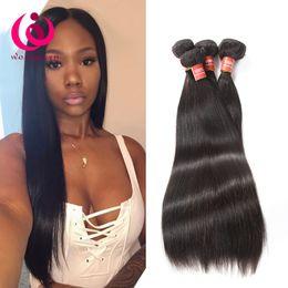 Wholesale Double Drawn Virgin Indian Hair - Peruvian Hair Bundles Straight Human Hair Weave 8A Queen Malaysian Indian Mongolian Brazilian Virgin Hair Extensions Double Drawn Weft