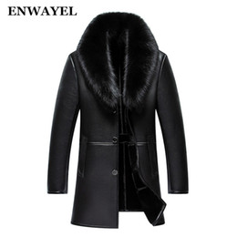 Wholesale Real Bats - ENWAYEL Winter Leather Jacket Men Coat Male Top Quality Real Fox Fur collar Warm Thick Faux Windbreaker Men Thick Velvet