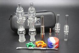 Wholesale Nail Cases - Cheap Honey Straws Bird Nectar Collectors With 10mm 14mm Real Quartz Tips Gr2 Titanium Nails Silicone Jar Leather Case Mini Dab Bongs