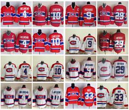 Jersey de hóquei do Montreal Canadiens vintage 4 Jean Beliveau 9 Maur Richard 10 Guy Lafleur 29 Ken Dryden 33 Jersey de Patrick Roy Vintage clássico de