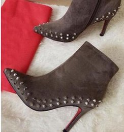 Wholesale Stiletto Heel Fur Boots - Luxury Black Red Leather with Spikes Pointed Toes Womens Ankle Boots,100mm Fashion Designer Sexy Ladies Red Bottom High Heels Shoes Pumps