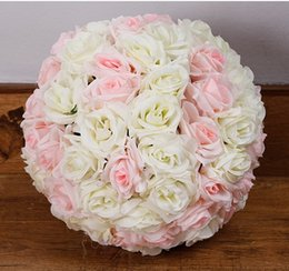 Wholesale Color Kissing Balls - 30cm Rose Kissing Balls For Wedding Silk Flower Ball Decorative Artificial Flowers Multi Color Options Pomander Balls KB-008