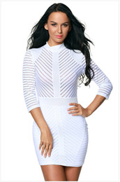 Wholesale Dreeses Sexy - New Fashion Summer Sexy Dresses High Collar Nigh Sleeve Striped Bodycon Dreeses Sheer Panelled Women Skinny Mini Empire Casual Dresses