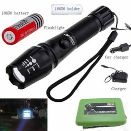 Wholesale New High Powered Led Flashlights - NEW High Power CREE XM-L T6 3000 Lumens Flashlight E17 CREE LED Zoomable Torch light with 18650 Battery + Car Charger + Charger + Box