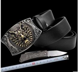 Wholesale Punk Buckle - Punk personality fashion belt + knife men trend belt