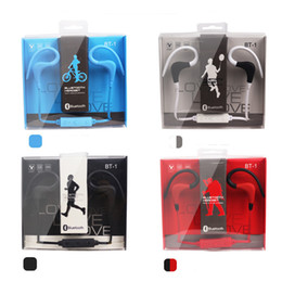 Wholesale Mixed Voice - new design BT-1 bt1 wireless bluetooth stereo earphone with mic and voice remote for smart cell phone 4 colors for choose