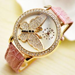 Wholesale Famous Beautiful - DHL Free shipping Luxury beautiful butterfly diamonds watch fashion Designer leather Women Dress ladies Famous rhinestone quartz wristwatch