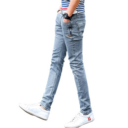 Wholesale Grey Designer Jeans - Wholesale- New Korean Style Men Jeans Grey Slim Skinny Man Biker Jeans with Zippers Designer Stretch Fashion Casual Pants Pencils Trousers
