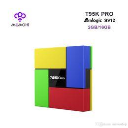 Wholesale Dual Core 2ghz - 10pcs T95K PRO Android 7.1 Smart TV Box Amlogic S912 Octa-core 2GHz 2GB 16GB Dual HDMI WIFI Bluetooth 4.0 UHD 4K Media Player