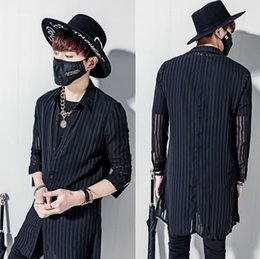 Wholesale Black Lace Men Dress Shirts - Wholesale- 2017 Harajuku Luxury Brand Mens Dress See Through Shirts Striped Chiffon Long Sleeve Designer Black Lace Slim Fit Shirt Men