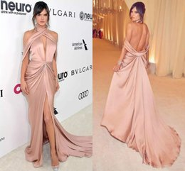 Wholesale sexy nude club dresses - New Stylish Deep V Neck Sexy Red Carpet Evening Dress Draped Open Back High Split Formal Prom Drerss Sweep Train Zuhair Murad Dresses
