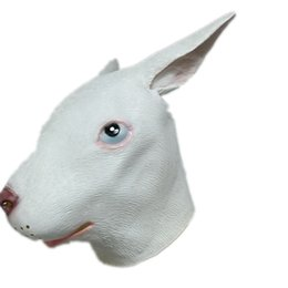 Wholesale Latex Rabbit Mask - Wholesale- Halloween Animal Rabbit Latex Mask Adult Size White Realistic Rabbit Full Head Masquerade Carnival Party Cosplay Props Costume