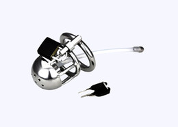 Wholesale Male Chasity Locked - Male New Stainless steel male chasity device cock cage penis lock chastity cage with urethral plug sounding sex toys for man