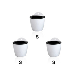 Wholesale Small Plastic Wholesale Vases - 3 Pack Elegant White Plastic Self Watering Wall Planter Hanging Planter White Flower pot For Home Decoration-Small