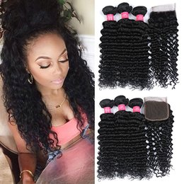 Wholesale Malaysian Deep Curly Closure - Brazilian Deep Wave Hair Weave 3Bundles With Closure 7A Unprocessed Peruvian Malaysian Brazilian Virgin Hair Deep Curly Wavy hair Extension