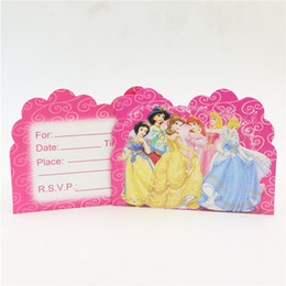 Wholesale Princess Party Theme Decorations - Wholesale- 10pcs lot birthday party decoration princess theme party disposable paper invitation card supplies teenagers favor