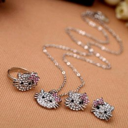 Wholesale Wholesale Cheap Rhinestone Jewelry - Cheap wholesale Fashion Crystal Cat Stud Earrings Rhinestone Hello Kitty Earrings Bowknot KT Jewelry For Girls Ring,Earring and Necklace Set