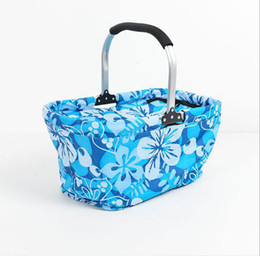 Wholesale Picnic Basket Food - 36L folding picnic basket 600D oxford ice insulation bag outdoor food, fruit fresh storage isothermic bag with aluminum alloy tote