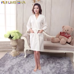 Wholesale Towelling Gowns Wholesale - Wholesale- Towel Bath Robe Dressing Gown Unisex Men Women Sleeve Solid Cotton Waffle Sleep Lounge Bathrobe Peignoir Nightgowns Lovers Robes