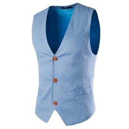 Wholesale Cheap Men S Suit Vests - Men Vest Waistcoat Suit Jacket Solid Cheap Casual Business Vests Formal Dress Fashion Tops 0070