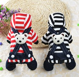 Wholesale Dog Overall - Stripe Denim Pet Clothing Dog Jumpsuit Rompers Overalls Bear Puppy jumpsuits Clothes Autumn Winter Chihuahua Sweatercoat Slip Dress