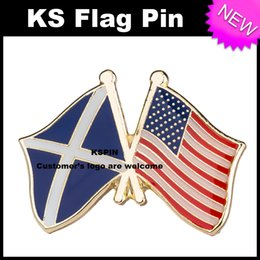 Wholesale Friendship Flag Pins - Scotland U.S.A Friendship Flag Badge Flag Pin 10pcs a lot Free shipping 0003