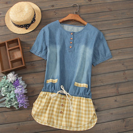 Wholesale Summer Cotton Short Sleeve Dresses - 2017 New Summer Female Short sleeve Shirts Dresses Anti Denim Cotton Panelled Blue Yellow Women's Wear #129