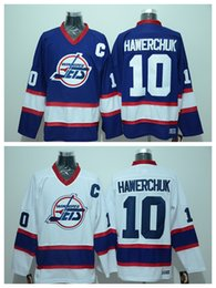 Wholesale Low Price Throwback Jerseys - 2015 Wholesale Men's Winnipeg jets #10 hawerchuk white blue Throwback Jersey Ice Hockey Jerseys,Best Quality,Low Price